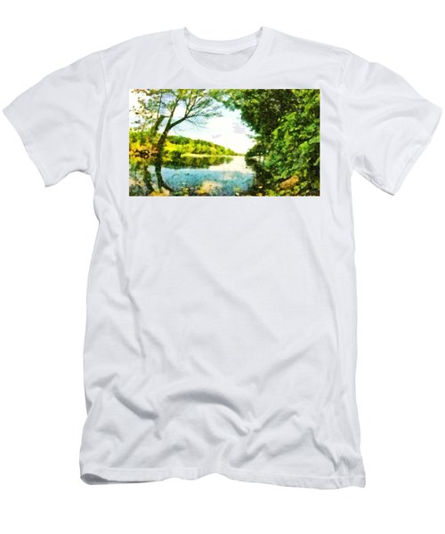 Men's T-Shirt (Athletic Fit) featuring the photograph Mohegan Lake By The Bridge by Derek Gedney