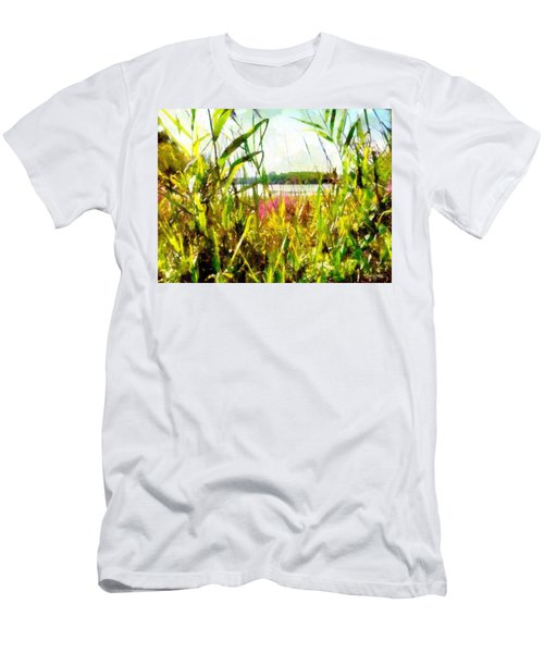 Men's T-Shirt (Athletic Fit) featuring the painting Mohegan Lake In The Brush by Derek Gedney