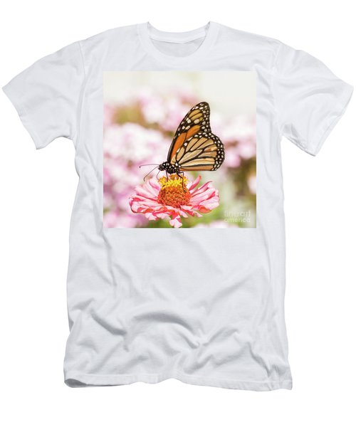 Monarch Butterfly On Pink Men's T-Shirt (Athletic Fit)