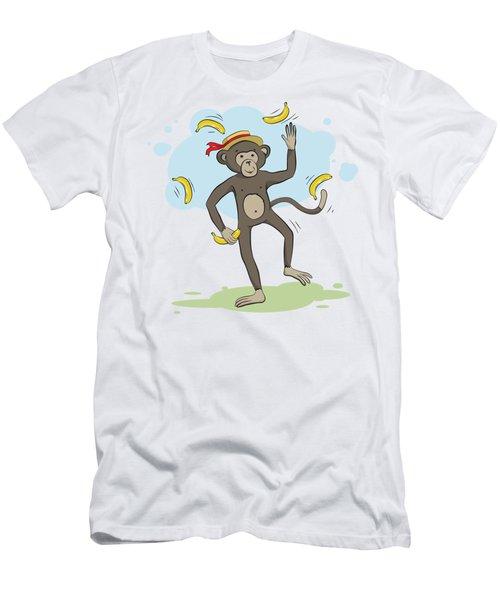 Monkey Juggling Bananas Men's T-Shirt (Slim Fit) by Elena Chepel