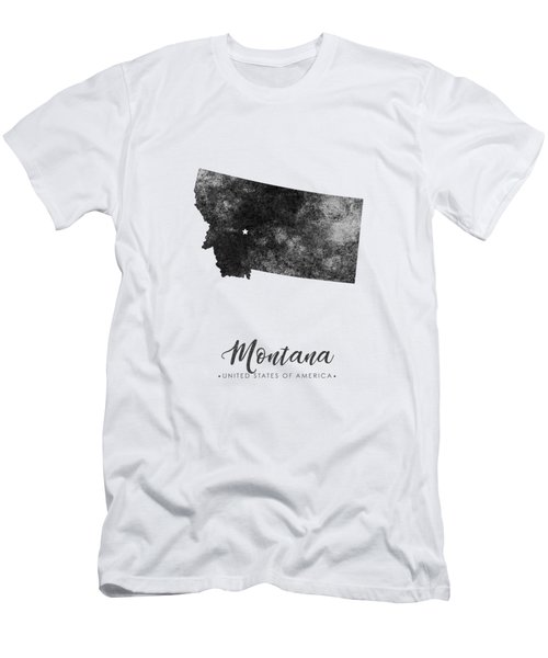 Montana State Map Art - Grunge Silhouette Men's T-Shirt (Athletic Fit)