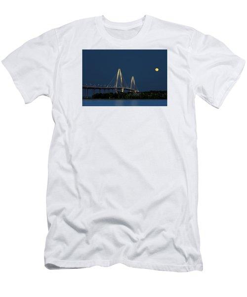 Men's T-Shirt (Athletic Fit) featuring the photograph Moon Over Arthur Ravenel Jr. Bridge by Ken Barrett