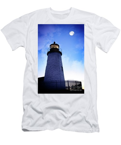 Moon Over Lighthouse Men's T-Shirt (Athletic Fit)