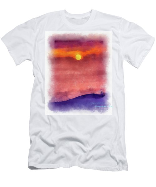 Moon Rise In Aquarelle Men's T-Shirt (Athletic Fit)