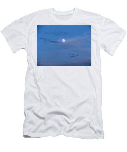 Moon Rises Geese Fly Men's T-Shirt (Athletic Fit)
