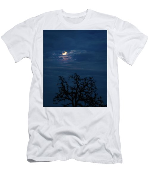 Men's T-Shirt (Athletic Fit) featuring the photograph Moonlight Through A Blue Evening Sky by Tim Bryan