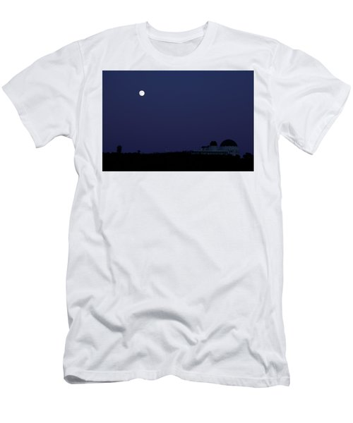 Moonrise At Blue Hour Over Griffith Observatory In Los Angeles Men's T-Shirt (Athletic Fit)