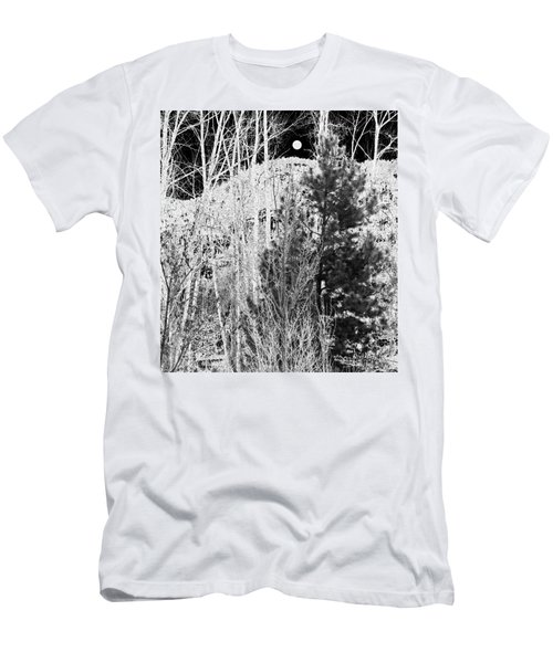 Men's T-Shirt (Slim Fit) featuring the digital art Moonrise Over The Mountain by Will Borden
