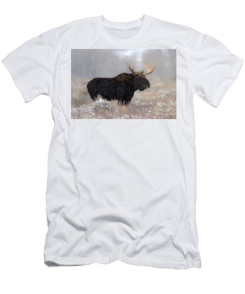 Men's T-Shirt (Slim Fit) featuring the photograph Moose Winter Silhouette by Adam Jewell