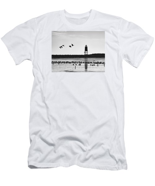 Men's T-Shirt (Slim Fit) featuring the photograph Morning At Racine Lakefront by Ricky L Jones