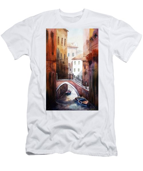 Men's T-Shirt (Slim Fit) featuring the painting Morning Canals by Samiran Sarkar