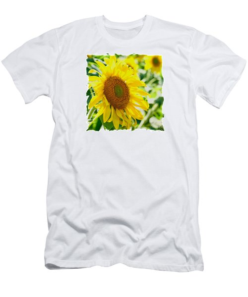 Men's T-Shirt (Slim Fit) featuring the photograph Morning Glory Farm Sun Flower by Vinnie Oakes