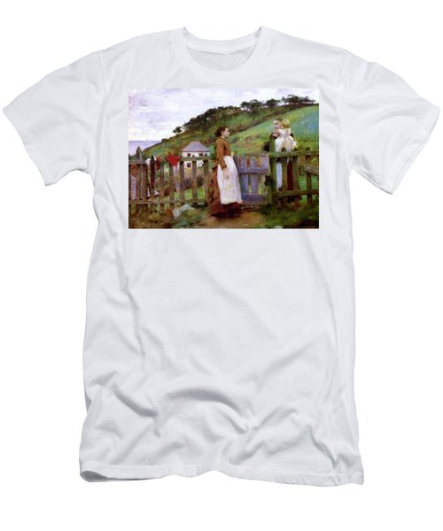 Men's T-Shirt (Slim Fit) featuring the painting Morning Gossip by Henry Scott Tuke