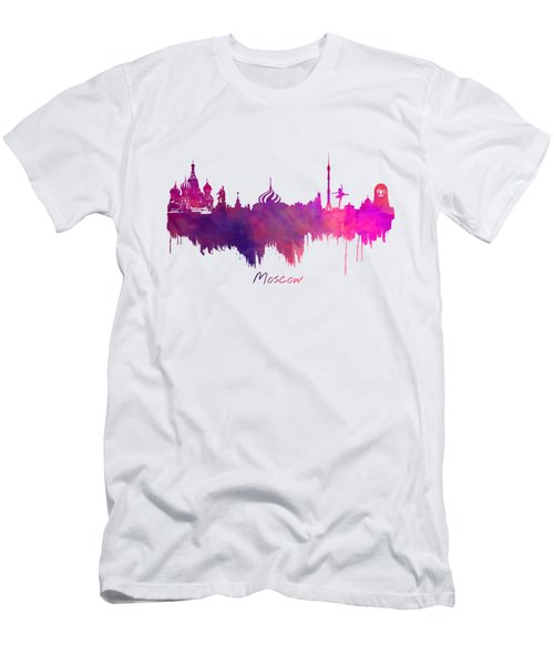 Moscow Russia Skyline Purple Men's T-Shirt (Slim Fit) by Justyna JBJart