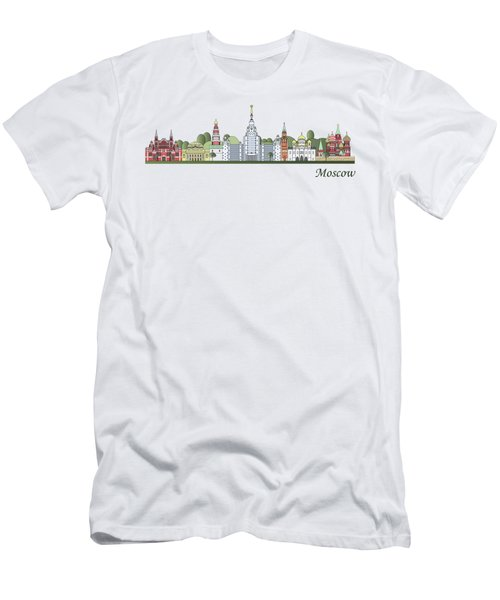 Moscow Skyline Colored Men's T-Shirt (Slim Fit) by Pablo Romero
