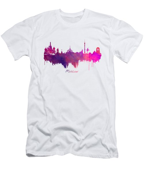 Moscow Skyline Purple Men's T-Shirt (Slim Fit) by Justyna JBJart