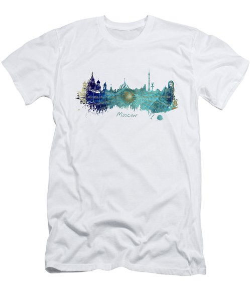 Moscow Skyline Wind Rose Men's T-Shirt (Slim Fit) by Justyna JBJart