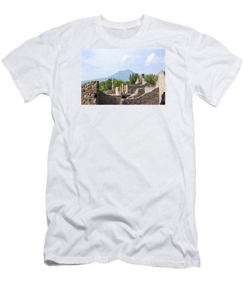 Mount Vesuvius Beyond The Ruins Of Pompei Men's T-Shirt (Slim Fit) by Allan Levin