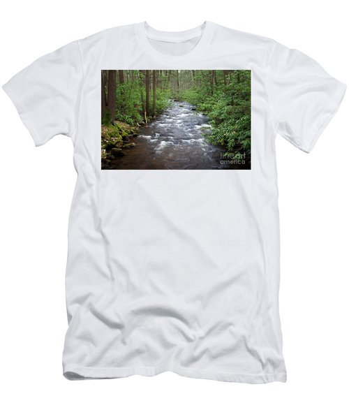 Men's T-Shirt (Slim Fit) featuring the photograph Mountain Stream Laurel by John Stephens