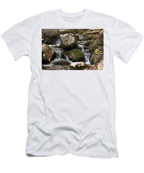 Men's T-Shirt (Slim Fit) featuring the photograph Mountain Stream Through Rocks by Emanuel Tanjala