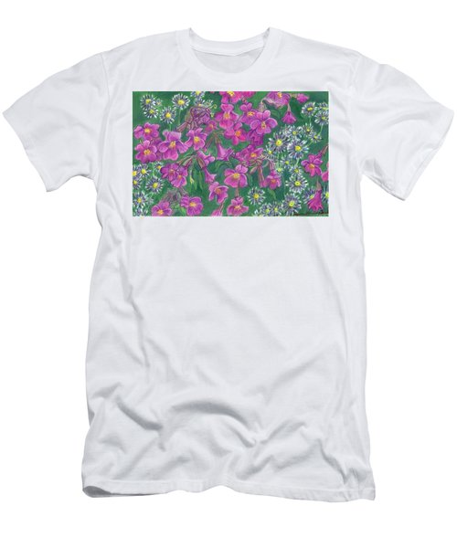 Men's T-Shirt (Slim Fit) featuring the drawing Mountain Wild Flowers by Dawn Senior-Trask