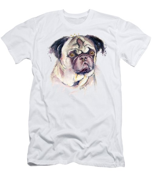 Mr Thinker Pug Watercolor Men's T-Shirt (Slim Fit) by Melly Terpening