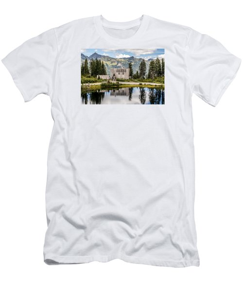 Men's T-Shirt (Slim Fit) featuring the photograph Mt Baker Lodge In Picture Lake 1 by Rob Green