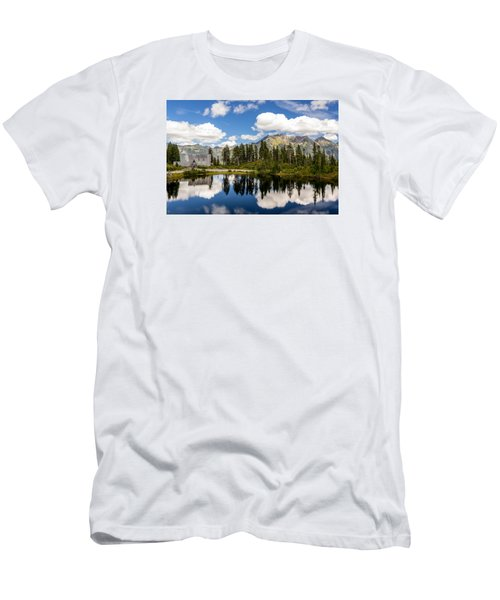 Men's T-Shirt (Slim Fit) featuring the photograph Mt Baker Lodge Reflection In Picture Lake 2 by Rob Green