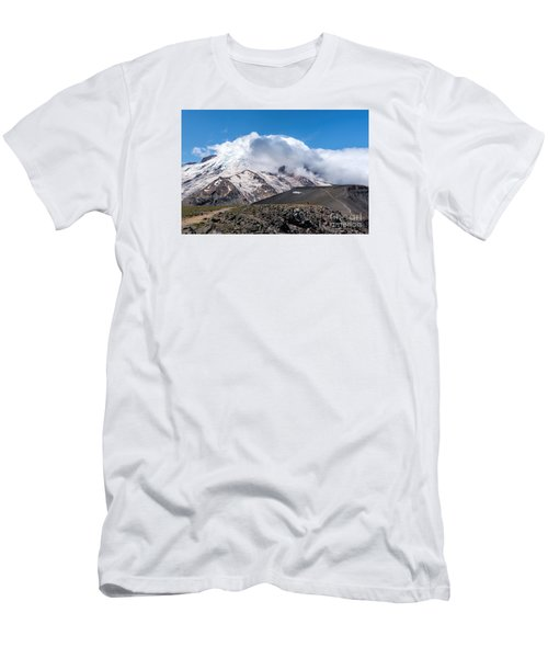 Mt Rainier In The Clouds Men's T-Shirt (Slim Fit) by Sharon Seaward
