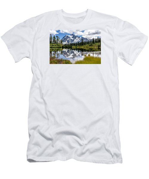 Men's T-Shirt (Slim Fit) featuring the photograph Mt Shuksan On Picture Lake 1 by Rob Green