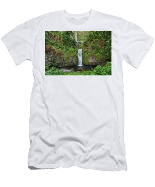 Men's T-Shirt (Slim Fit) featuring the photograph Multnomah Falls In Spring by Greg Nyquist