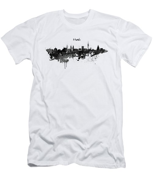 Munich Black And White Skyline Silhouette Men's T-Shirt (Athletic Fit)