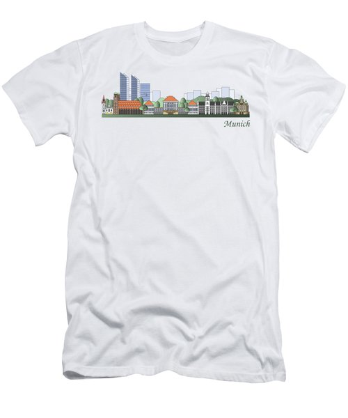 Munich Skyline Colored Men's T-Shirt (Athletic Fit)