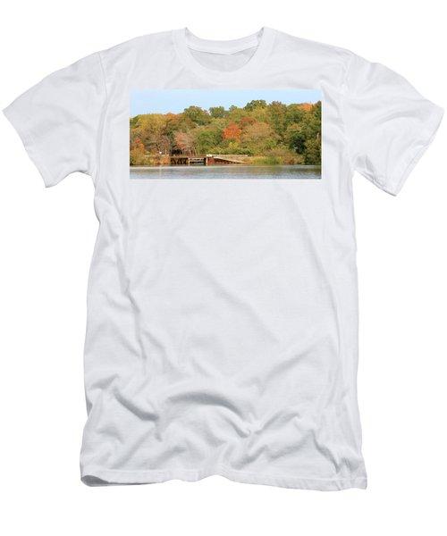 Men's T-Shirt (Slim Fit) featuring the photograph Murphy Mill Dam/bridge by Jerry Battle