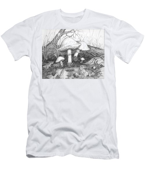 Men's T-Shirt (Slim Fit) featuring the drawing Mushrooms -pencil Study by Doug Kreuger