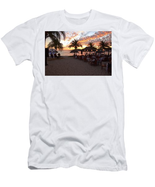 Music And Dining On The Beach Men's T-Shirt (Slim Fit) by Jim Walls PhotoArtist