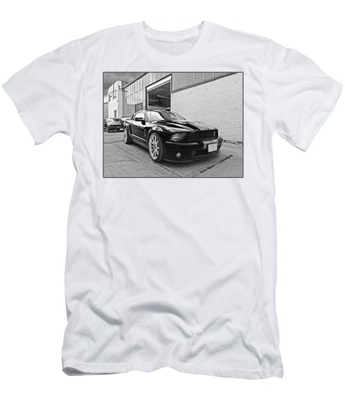 Mustang Alley In Black And White Men's T-Shirt (Slim Fit) by Gill Billington