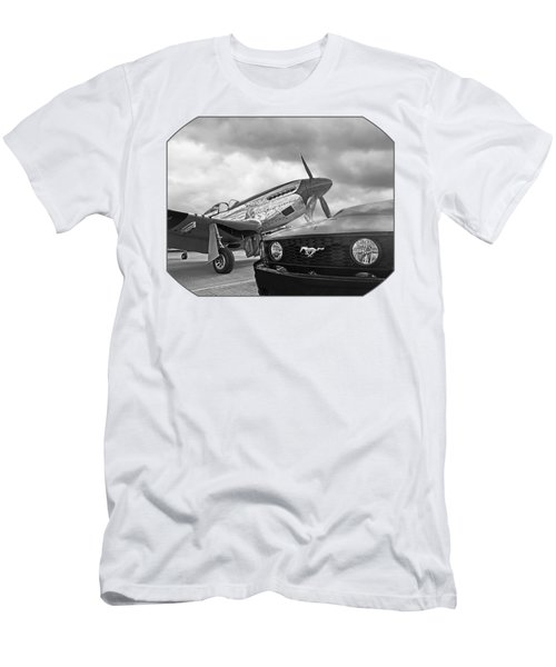 Mustang Gt With P51 Black And White Men's T-Shirt (Athletic Fit)