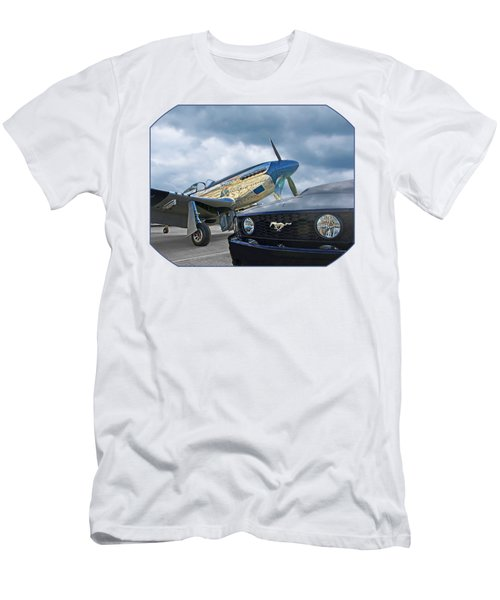 Mustang Gt With P51 Men's T-Shirt (Athletic Fit)