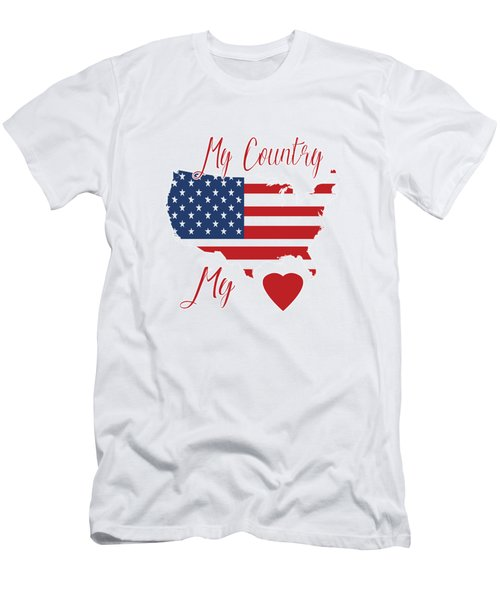 Men's T-Shirt (Athletic Fit) featuring the digital art My Country My Heart by Judy Hall-Folde
