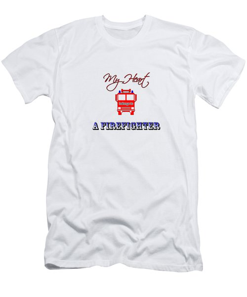 My Heart Belongs To A Firefighter Men's T-Shirt (Athletic Fit)