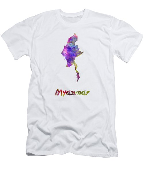 Myanmar In Watercolor Men's T-Shirt (Slim Fit) by Pablo Romero