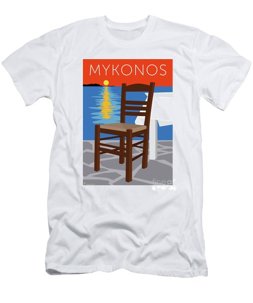 Men's T-Shirt (Athletic Fit) featuring the digital art Mykonos Empty Chair - Orange by Sam Brennan