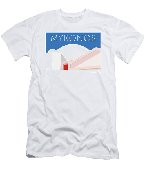 Men's T-Shirt (Athletic Fit) featuring the digital art Mykonos Walls - Blue by Sam Brennan