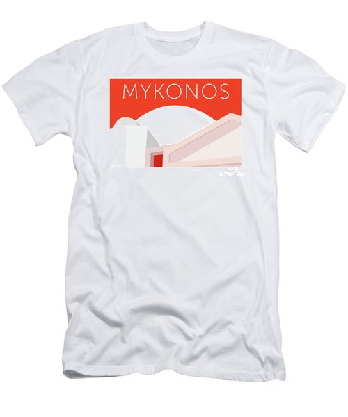 Men's T-Shirt (Athletic Fit) featuring the digital art Mykonos Walls - Orange by Sam Brennan