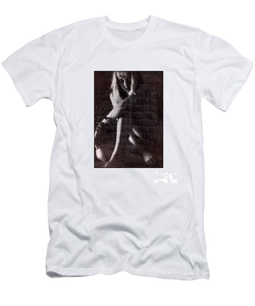 Naked Girl Hiding Men's T-Shirt (Slim Fit) by Michael Edwards