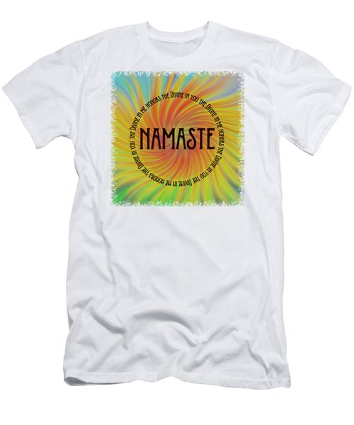 Men's T-Shirt (Slim Fit) featuring the photograph Namaste Divine And Honor Swirl by Terry DeLuco