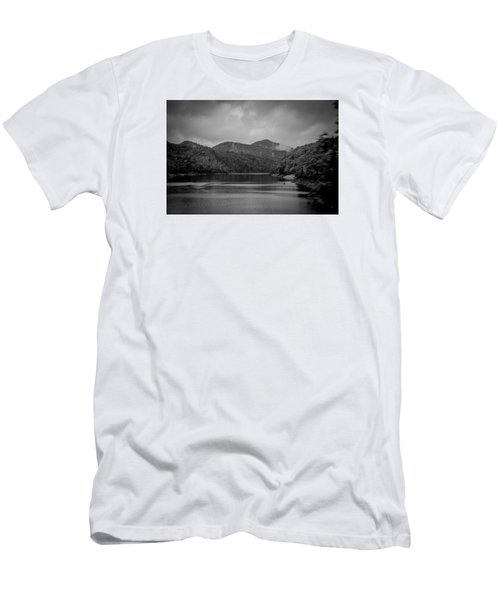 Men's T-Shirt (Slim Fit) featuring the photograph Nantahala River Great Smoky Mountains In Black And White by Kelly Hazel