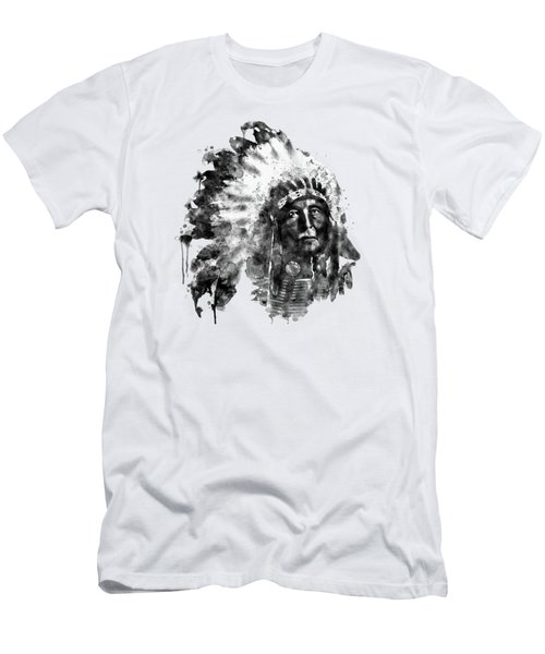 Native American Chief Black And White Men's T-Shirt (Athletic Fit)