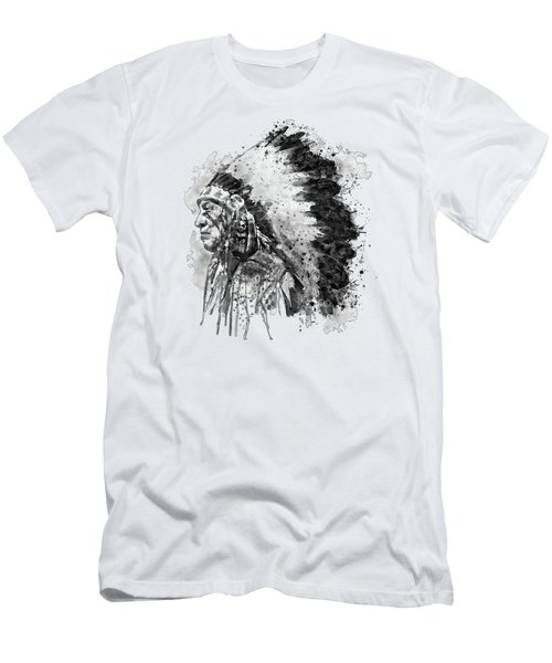 Native American Chief Side Face Black And White Men's T-Shirt (Athletic Fit)